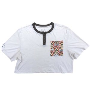 Altamont Button Up Pocket Tee Cream Large Crop Top